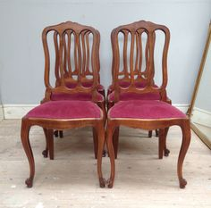 Simple elegant set of 6 Vintage French Dining Chairs escargot feet & cabriolet legs - french furniture