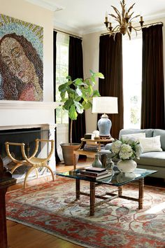 Repeating patterned fabrics in adjoining spaces is a great way #livingrooms #homedecor #southernliving