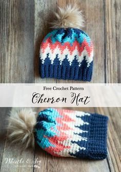 Free Crochet Pattern: Crochet Chevron Hat | This pretty hat uses simple color work and single crochet stiches to make a vibrant chevron design. #freecrochethatpattern #crochetchevronhatpattern #freecrochetpattern