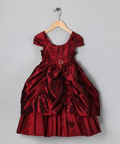 Take a look at this Burgundy Sequin Flower Pick-Up Dress - Toddler & Girls by Bijan Kids on #zulily today!