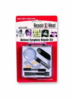 Eyeglass Repair Kit by Health Enterprises. $8.04. Everything needed to easily fix glasses. 5X magnifier, Phillips & straight screwdrivers, ear grips, nose pads, eyeglass cord, assortment of screws & hinges.. Save 38%!