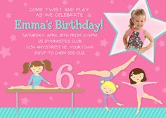 Gymnastics Invitation for Birthday Party  by InkberryParties, $12.99