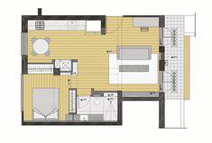 תוכנית הדירה, אחרי: הסלון הועבר לצד המרפסת, המטבח וחדר השינה מוקמו בקווים מקבילים, כך שהבריזה תוכל לעבור דרך הדירה. חדר הרחצה נמצא בפינת הסלון, בקרבת חדר השינה, ואין מטר מרובע אחד ''מבוזבז'' על מסדרון או אזור שירות ( תכנית: אדריכל עמיחי שרון )
