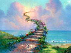 """Stairway to Heaven"" by Thomas Kinkade (Rainbow Bridge) Stairway To Heaven, Jim Warren, What Is Heaven, Thomas Kincaid, 3d Fantasy, Fantasy Landscape, Illustration, Rainbow Bridge, Rainbow Gif"