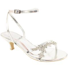 Womens Silver Diamante Low Heeled Sandals