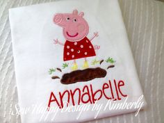 Custom Pink Pig  with Name T Shirt by SewHapDesign on Etsy