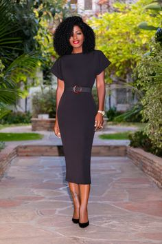 Style Pantry | Black Midi Dress w/ Folded Sleeves