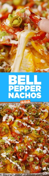 These low-carb Bell Pepper Nachos show tortilla chips who's boss. Get the recipe from Delish.com.