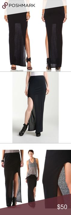 NWT HELMUT LANG $160 Kinetic Jersey Maxi Skirt New with tags, by HEMLUT LANG. $160 retail Maxi Skirt light and airey jersey black. Seen on many celebs including Jennifer Lawrence. Mini skirt liner underneath as displayed in photos. High slit Helmut Lang Skirts Maxi