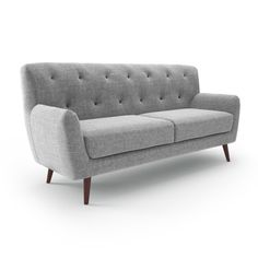 Defined by a clean-lined silhouette with rounded details and splayed legs, this sofa offers up a contemporary-tinged aesthetic for any ensemble or well-curated environment. Set it in the living room against an off-white or cream wall to complement its neutral-toned linen upholstery, then match its splayed wood legs with matching wood tables and chairs around the space. To punch up this piece's textural appeal, try planting a woven cashmere or wool throw blanket over its button-tufted back...