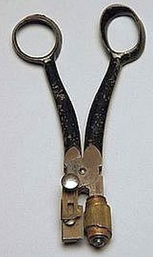 This sewing item is a rare button hole cutter, patent dated 1868. Made by D.G. Chase, Boston, made of steel & brass.
