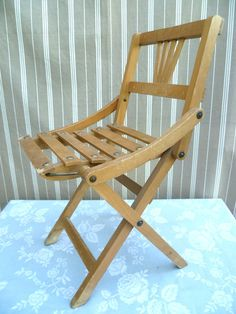 Antique French 1930's Childs Folding Wooden Chair - Dollies, Teddies | eBay UK  | eBay.co.uk