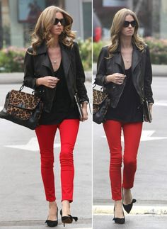Who can miss Nicky Hilton in these fire-red jeans!