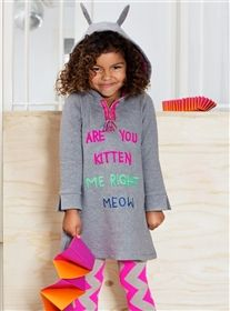 Mim-Pi - Are You Kitten Me Right Meow Hoodie Dress Grey