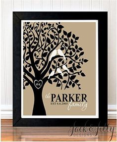 PERSONALIZED FAMILY TREE PRINT - You Choose the colours to match any decor - Christmas Gift - Birds in a Tree - Can include family pet - Cat, Dog, etc - Mother's Day Gift - Housewarming Gift > Additional info  : Handmade Gifts