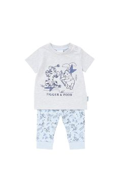 Tesco direct: Disney Winnie the Pooh Embroidered T-Shirt and Cuffed Trousers Set