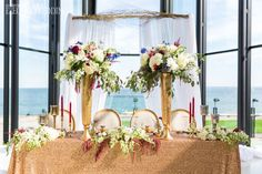 Waterfront wedding table with gold sequin linens Table Setting Inspiration, Wedding Place Settings, Waterfront Wedding, Sweetheart Table, Old World Charm, Casino Theme Parties, Wedding Styles, Wedding Ideas, Event Design