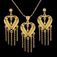 Women Long Tassel Necklace And Earring Set Jewelry Heart Trendy Gold Plated Jewelry Sets, Wholesale Heart Jewelry 2016 New