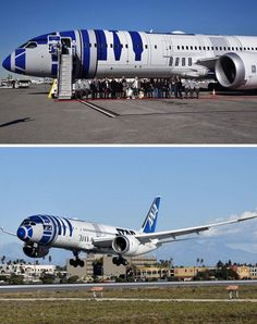 Yep! That's the Star Wars cast traveling on an R2-D2 plane