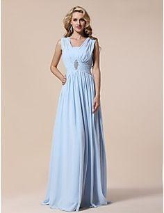 TS Couture® Prom / Formal Evening / Military Ball Dress - Elegant Plus Size / Petite Sheath / Column V-neck Floor-length Chiffon withDraping / – USD $ 235.00