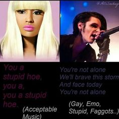 """Black Veil Brides, Sleeping With Sirens, Pirce The Veil, ect. Are not """"Gay, Emo or Stupid."""" That music makes people not feel alone and makes them feel better. Calling someone a stupid hoe isn't going to help them at all. -Kayla(:"""