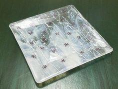 fused glass snowflake tray by Buddha Kitty Glass, via Flickr