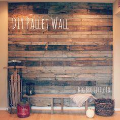 DIY Pallet Style Wall from http://bigbrolittlelo.blogspot.com