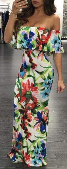 Off The Shoulder Floral Flouncy Maxi Dress