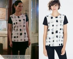 Joan Watson (Lucy Liu) wears this white and black brushstroke grid shirt in this week's episode of Elementary. It is the Zara [...]