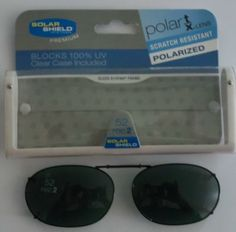 FOSTER GRANT BLACK CLIP-ON SUNGLASSES  with CASE 52 REC 2 #FosterGrant