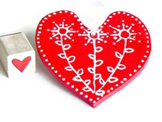Heart Red Ceramic Ornament Eco Friendly Pottery by Ceraminic, $10.00
