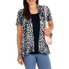 White Stag Women's Short Sleeve 2fer Flyaway Top, Size: Small, Multicolor