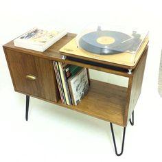 Vinyl Record Lagerung, Konsole Tisch, Mitte Jahrhundert moderner Tisch, Mitte Jahrhundert Schrank, Sideboard, Tische, Couchtisch, Nussbaum Beistelltisch