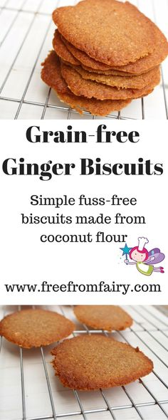Simple glutenfree, dairyfree, refined sugarfree, low carb ginger biscuits made with coconut flour. (quick and easy snacks coconut flour) Gluten Free Cookies, Gluten Free Baking, Healthy Baking, Healthy Treats, Keto Cookies, Healthy Cookies, Low Carb Desserts, Gluten Free Desserts, Low Carb Recipes