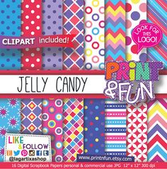 Popular items for jelly candy on Etsy Digital Scrapbook Paper, Scrapbook Paper Crafts, Digital Papers, Jelly Jamm, Pattern Paper, Paper Patterns, Kids Patterns, Yellow Pattern, Candyland