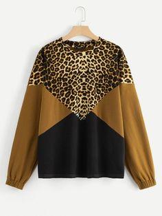 Shop Plus Drop Shoulder Color-block Leopard Pullover online. SHEIN offers Plus Drop Shoulder Color-block Leopard Pullover & more to fit your fashionable needs. Look Fashion, Fashion News, Fashion Outfits, Mens Fashion, Fashion 2017, Plus Size Dresses, Plus Size Outfits, Outfits For Teens, Casual Outfits