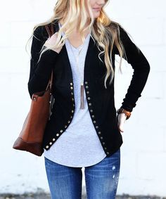 Another great find on #zulily! Black Snap Cardigan #zulilyfinds