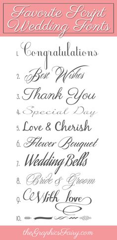 Favorite Script Wedding Fonts!    ...by Emily for The Graphics Fairy