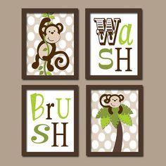 Shower Curtain Bathroom Wall Art Artwork Monkey Boy by trmDesign