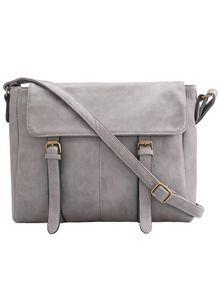 Grey Buckle PU Shoulder Bag