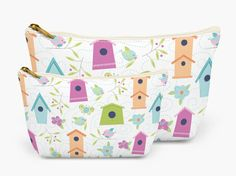 Kid's Accessory Bag | Pencil Zipper Pouch | Pink Birdhouse Pencil Bag | Zipped Organizer | Available in 2 sizes | Great gift idea