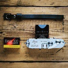 Leica with Summarit lens. A roll of Kodak Ektar 100 and our black Oxford wrist strap. Color Negative Film, Kodak Ektar, Black Oxfords, The 100