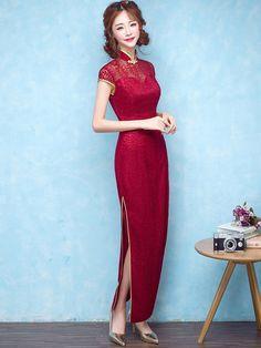 Wine Red Lace Qipao / Cheongsam Dress with Split