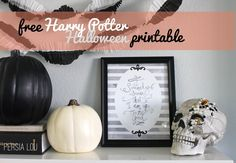 Free Harry Potter Halloween Printable by Persia Lou Halloween Printable, Halloween Diy, Halloween Decorations, Haunted Halloween, Gold Throw, Harry Potter Halloween, Black And White Theme, Hallows Eve, Fall Crafts
