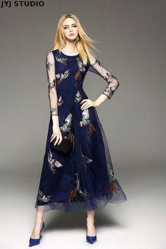 Woman Navy Blue Embroidery Maxi Long Dress A line Gauze Sexy Transparent Dress O neck Animal Retro Vintage Dress on Aliexpress.com | Alibaba Group
