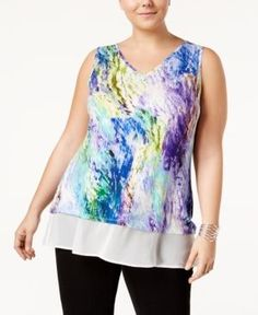 Belldini Plus Size Layered-Look Top - Abstract Waterfall 2X