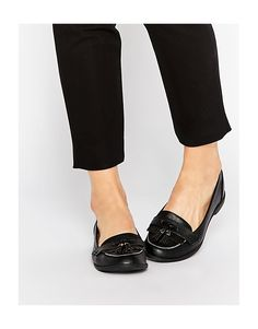 Head+over+Heels+By+Dune+Glynnis+Black+Patent+Tassel+Loafer+Flat+Shoes