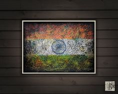 Hand-Painted Flag of India Indian Flag-Distressed by ArtForLoft