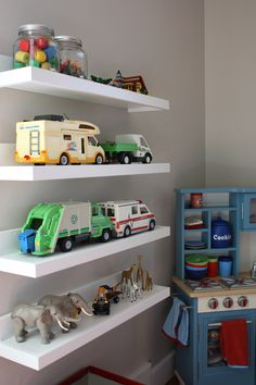 Playmobil vehicle shelving.