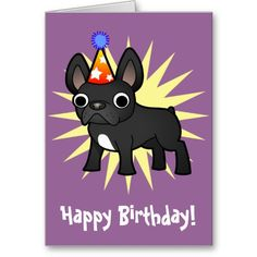 Birthday French Bulldog Black Card